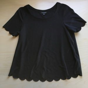 Topshop Scalloped Black Top SIZE 2